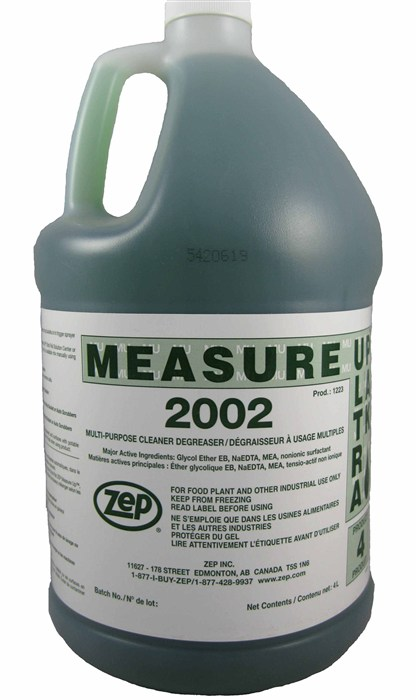 Zep Measure 2002 Concentrated Cleaner and Degreaser.