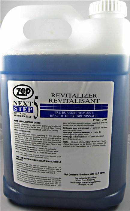 Zep Next Step 5 Revitalizer Pre-Burnish Reagent.