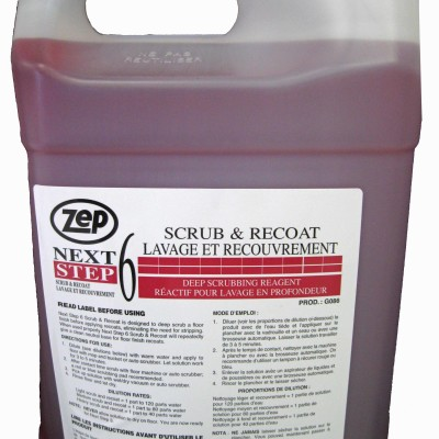 Zep Next Step 6 Scrub and Recoat Deep Scrubbing Reagent.