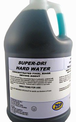 Zep Super Dri Hard Water. Dishwasher Rinse Aid for commercial machines.