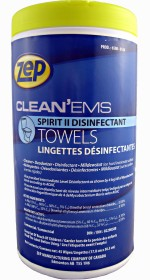 Zep Clean 'Ems Spirit II towels for cleaning and disinfecting.