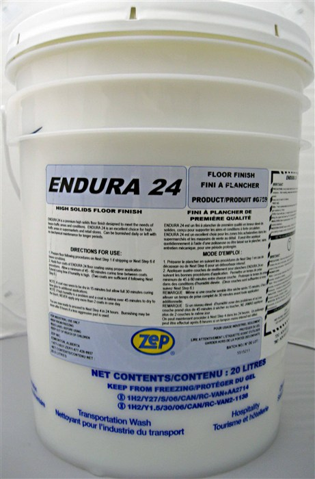 Zep Endura 24 Low maintenance floor finish.