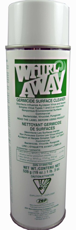 Zep Whirlaway spray on disinfectant.
